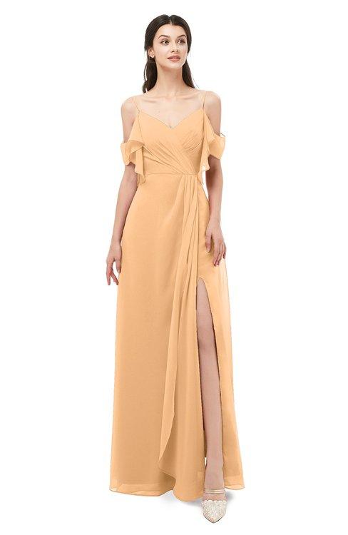 ColsBM Blair Apricot Bridesmaid Dresses Spaghetti Zipper Simple A-line Ruching Short Sleeve