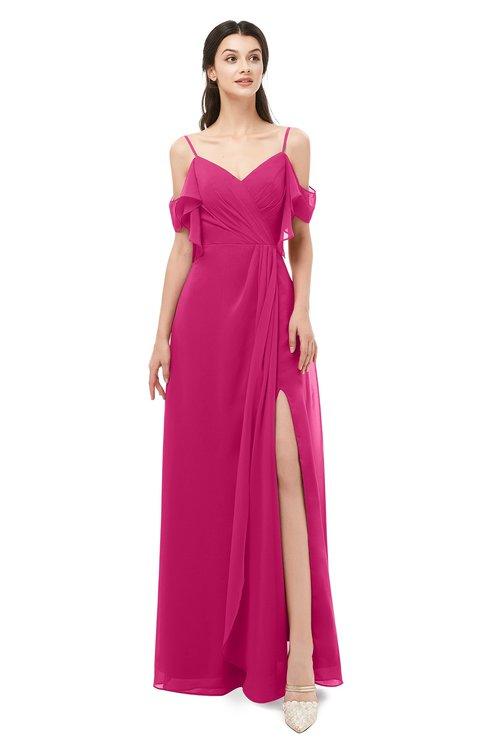 ColsBM Blair Beetroot Purple Bridesmaid Dresses Spaghetti Zipper Simple A-line Ruching Short Sleeve