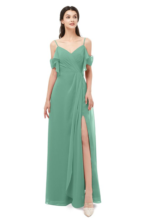ColsBM Blair Beryl Green Bridesmaid Dresses Spaghetti Zipper Simple A-line Ruching Short Sleeve