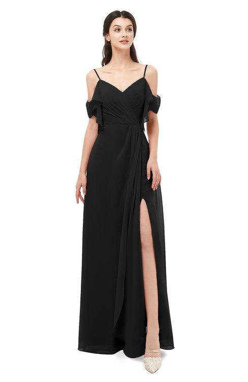 ColsBM Blair Black Bridesmaid Dresses Spaghetti Zipper Simple A-line Ruching Short Sleeve