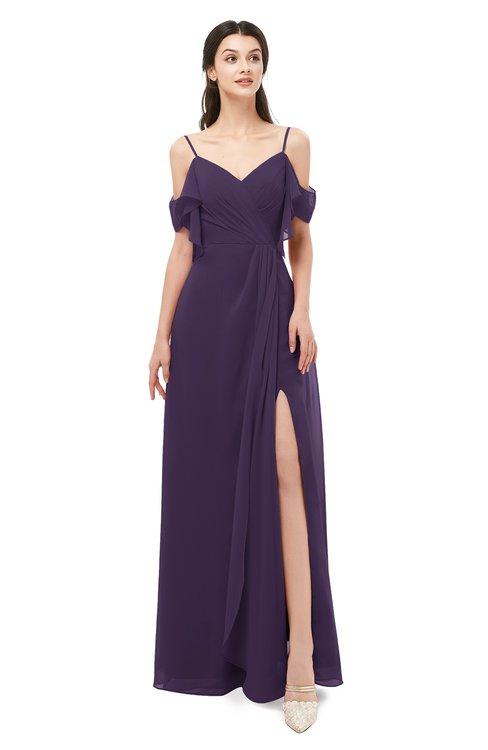 ColsBM Blair Blackberry Cordial Bridesmaid Dresses Spaghetti Zipper Simple A-line Ruching Short Sleeve
