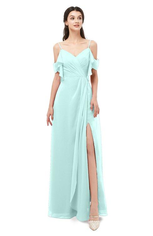 ColsBM Blair Blue Glass Bridesmaid Dresses Spaghetti Zipper Simple A-line Ruching Short Sleeve