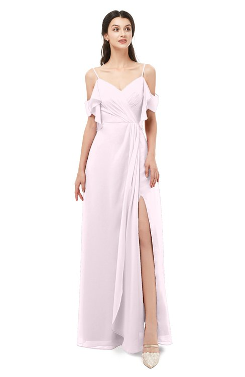 ColsBM Blair Blush Bridesmaid Dresses Spaghetti Zipper Simple A-line Ruching Short Sleeve