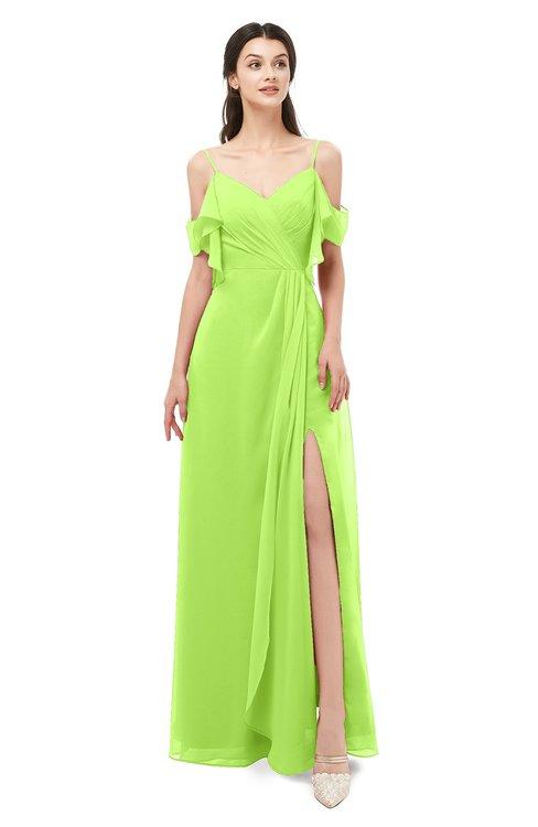 ColsBM Blair Bright Green Bridesmaid Dresses Spaghetti Zipper Simple A-line Ruching Short Sleeve