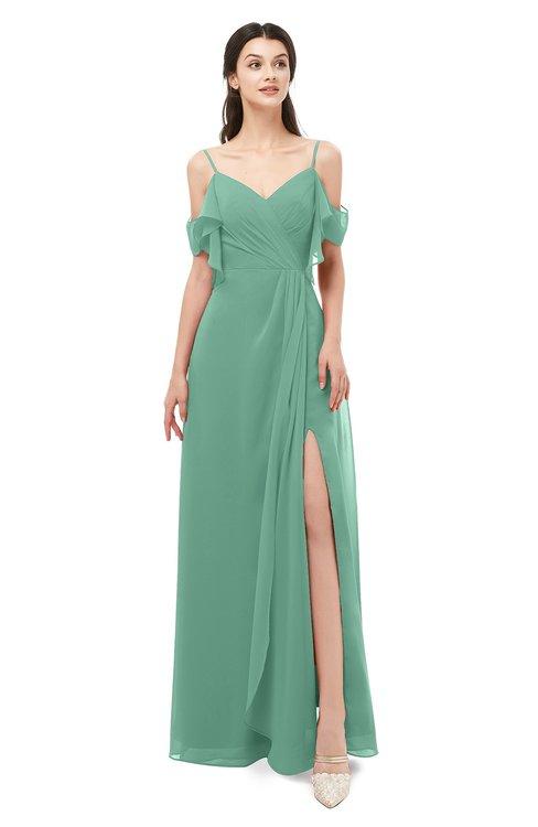 ColsBM Blair Bristol Blue Bridesmaid Dresses Spaghetti Zipper Simple A-line Ruching Short Sleeve