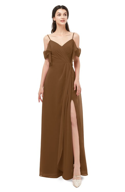 ColsBM Blair Brown Bridesmaid Dresses Spaghetti Zipper Simple A-line Ruching Short Sleeve