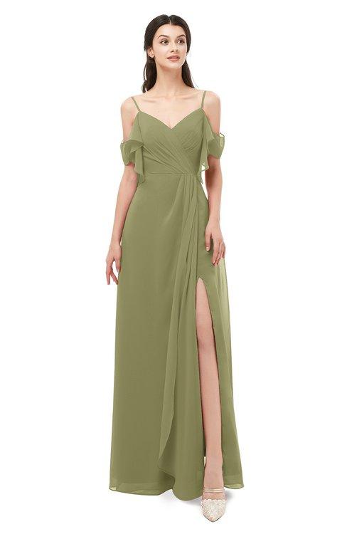 ColsBM Blair Cedar Bridesmaid Dresses Spaghetti Zipper Simple A-line Ruching Short Sleeve