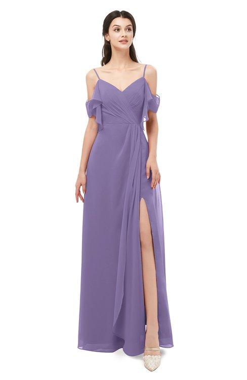 ColsBM Blair Chalk Violet Bridesmaid Dresses Spaghetti Zipper Simple A-line Ruching Short Sleeve