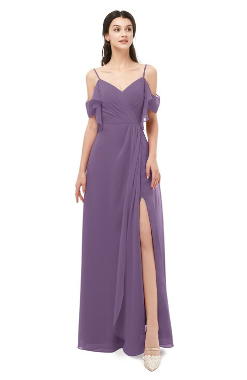 ColsBM Blair Chinese Violet Bridesmaid Dresses Spaghetti Zipper Simple A-line Ruching Short Sleeve