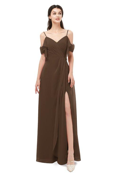 ColsBM Blair Chocolate Brown Bridesmaid Dresses Spaghetti Zipper Simple A-line Ruching Short Sleeve