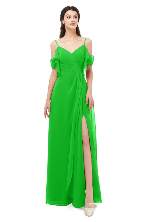 ColsBM Blair Classic Green Bridesmaid Dresses Spaghetti Zipper Simple A-line Ruching Short Sleeve