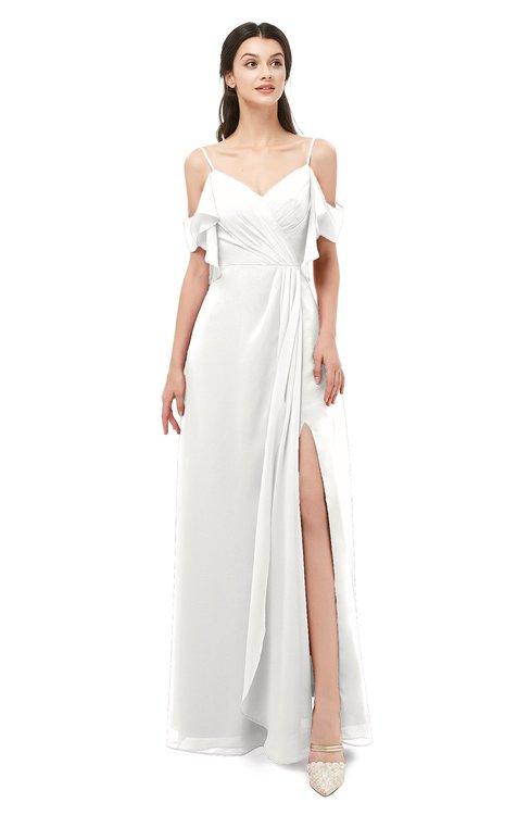 ColsBM Blair Cloud White Bridesmaid Dresses Spaghetti Zipper Simple A-line Ruching Short Sleeve