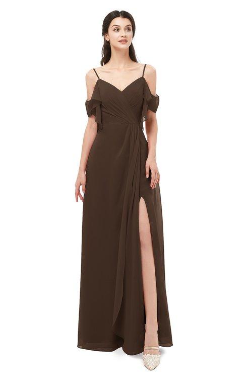 ColsBM Blair Copper Bridesmaid Dresses Spaghetti Zipper Simple A-line Ruching Short Sleeve