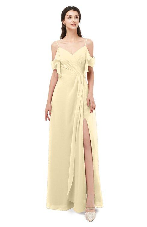 ColsBM Blair Cornhusk Bridesmaid Dresses Spaghetti Zipper Simple A-line Ruching Short Sleeve