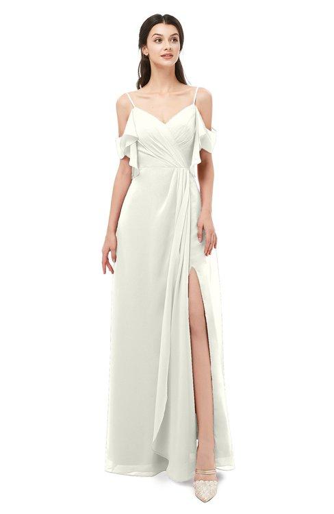 ColsBM Blair Cream Bridesmaid Dresses Spaghetti Zipper Simple A-line Ruching Short Sleeve