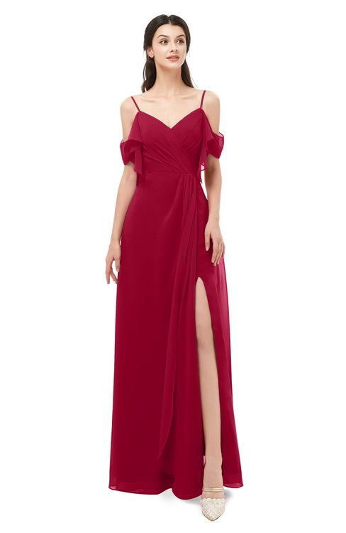 ColsBM Blair Dark Red Bridesmaid Dresses Spaghetti Zipper Simple A-line Ruching Short Sleeve