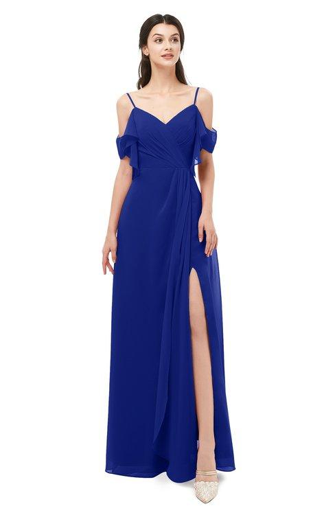 ColsBM Blair Electric Blue Bridesmaid Dresses Spaghetti Zipper Simple A-line Ruching Short Sleeve