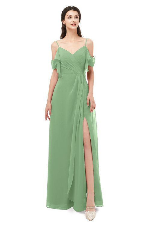 ColsBM Blair Fair Green Bridesmaid Dresses Spaghetti Zipper Simple A-line Ruching Short Sleeve