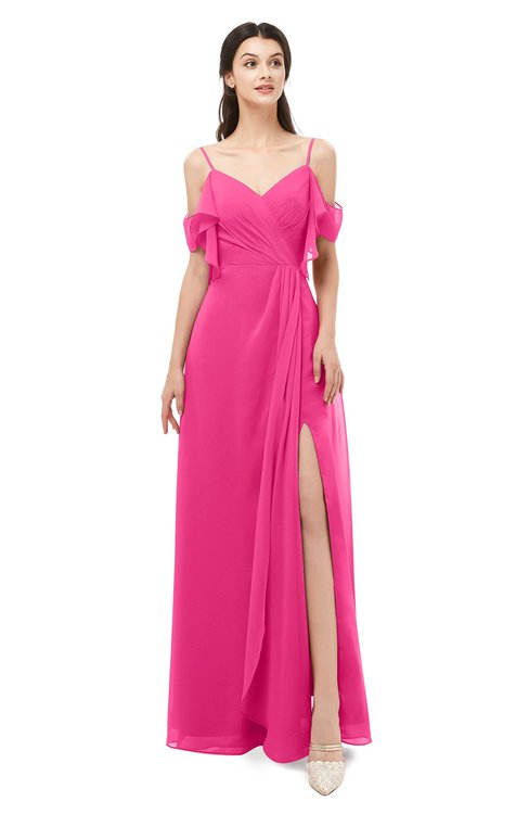 ColsBM Blair Fandango Pink Bridesmaid Dresses Spaghetti Zipper Simple A-line Ruching Short Sleeve