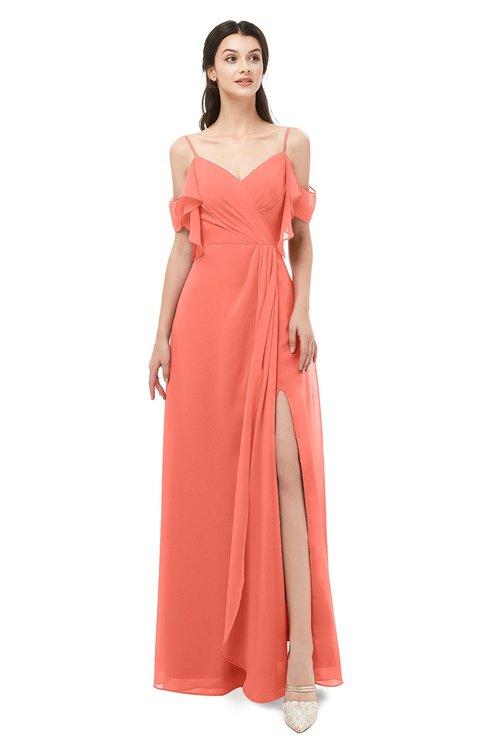 ColsBM Blair Fusion Coral Bridesmaid Dresses Spaghetti Zipper Simple A-line Ruching Short Sleeve
