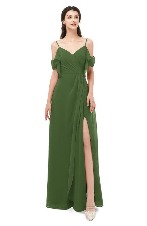 ColsBM Blair Garden Green Bridesmaid Dresses Spaghetti Zipper Simple A-line Ruching Short Sleeve