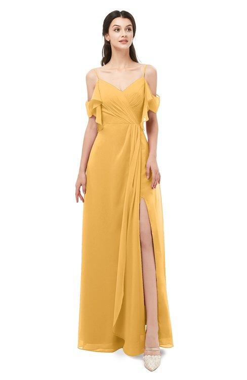ColsBM Blair Golden Cream Bridesmaid Dresses Spaghetti Zipper Simple A-line Ruching Short Sleeve
