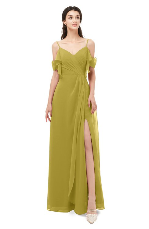 ColsBM Blair Golden Olive Bridesmaid Dresses Spaghetti Zipper Simple A-line Ruching Short Sleeve