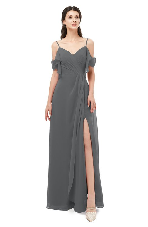 ColsBM Blair Grey Bridesmaid Dresses Spaghetti Zipper Simple A-line Ruching Short Sleeve