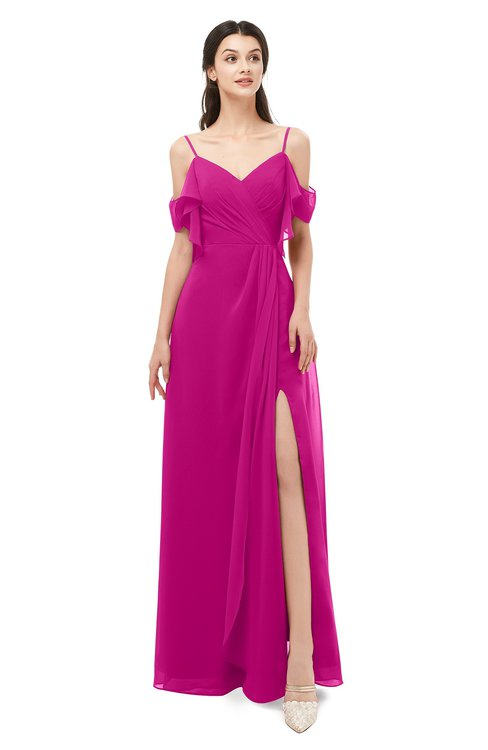 ColsBM Blair Hot Pink Bridesmaid Dresses Spaghetti Zipper Simple A-line Ruching Short Sleeve
