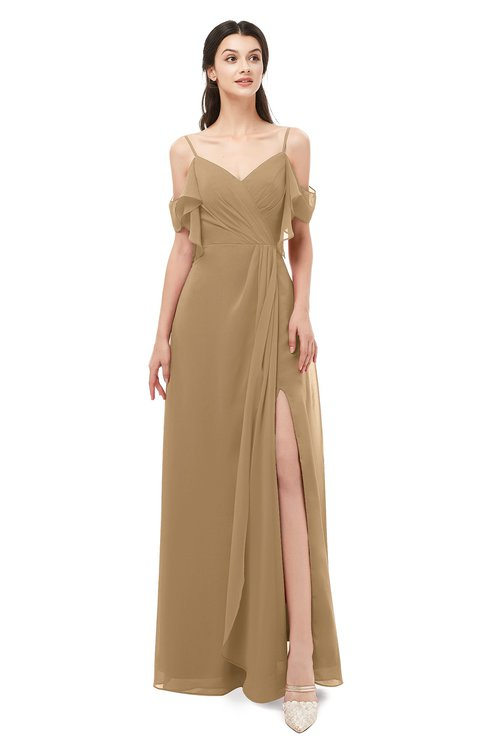 ColsBM Blair Indian Tan Bridesmaid Dresses Spaghetti Zipper Simple A-line Ruching Short Sleeve
