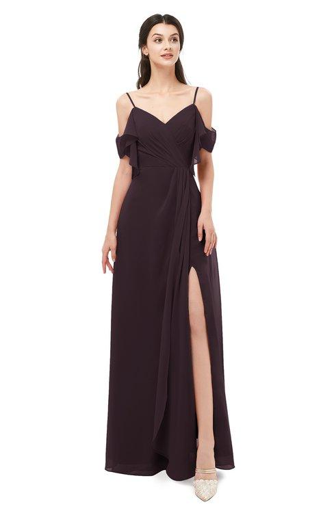 ColsBM Blair Italian Plum Bridesmaid Dresses Spaghetti Zipper Simple A-line Ruching Short Sleeve