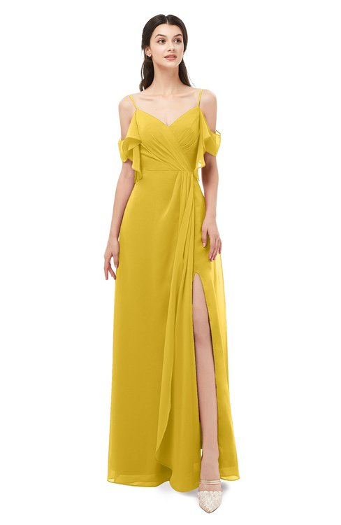 ColsBM Blair Lemon Curry Bridesmaid Dresses Spaghetti Zipper Simple A-line Ruching Short Sleeve