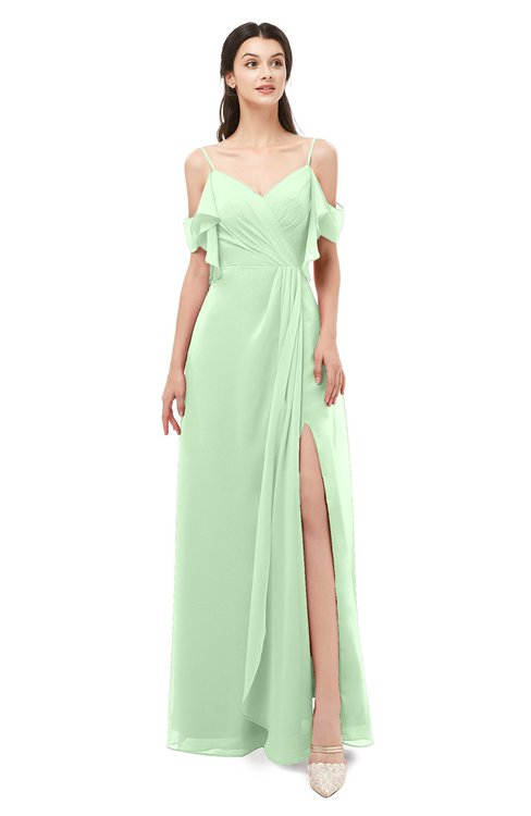 ColsBM Blair Light Green Bridesmaid Dresses Spaghetti Zipper Simple A-line Ruching Short Sleeve