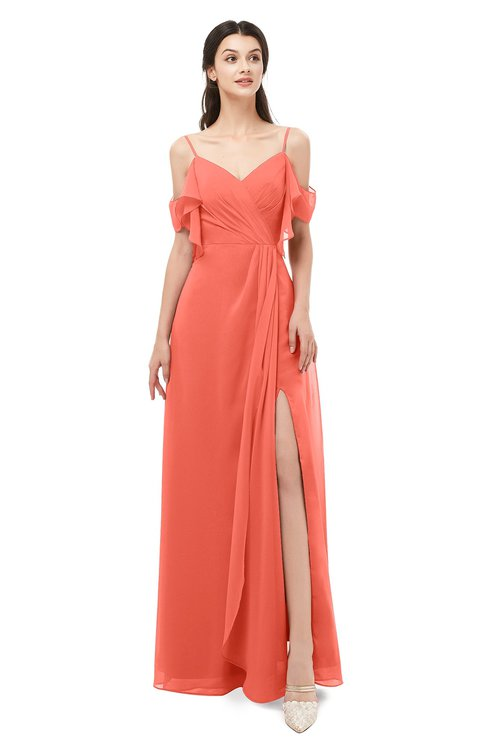 ColsBM Blair Living Coral Bridesmaid Dresses Spaghetti Zipper Simple A-line Ruching Short Sleeve