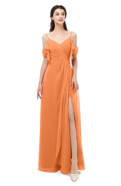 ColsBM Blair Mango Bridesmaid Dresses Spaghetti Zipper Simple A-line Ruching Short Sleeve