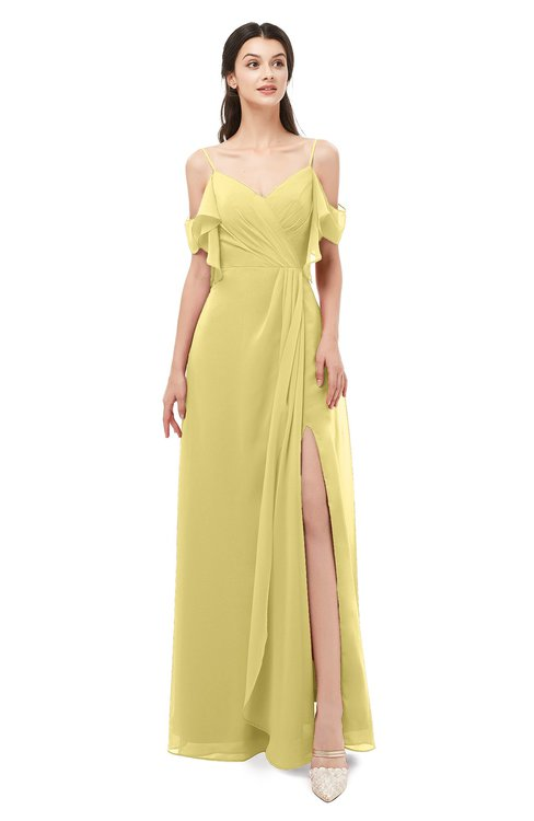 ColsBM Blair Misted Yellow Bridesmaid Dresses Spaghetti Zipper Simple A-line Ruching Short Sleeve