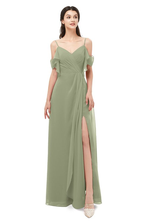 ColsBM Blair Moss Green Bridesmaid Dresses Spaghetti Zipper Simple A-line Ruching Short Sleeve