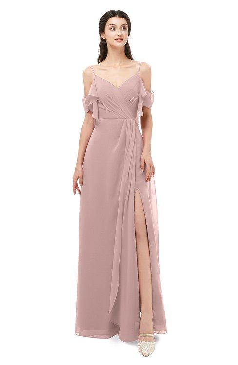 ColsBM Blair Nectar Pink Bridesmaid Dresses Spaghetti Zipper Simple A-line Ruching Short Sleeve