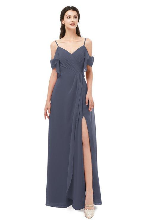 ColsBM Blair Nightshadow Blue Bridesmaid Dresses Spaghetti Zipper Simple A-line Ruching Short Sleeve