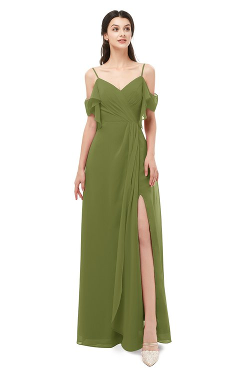 ColsBM Blair Olive Green Bridesmaid Dresses Spaghetti Zipper Simple A-line Ruching Short Sleeve