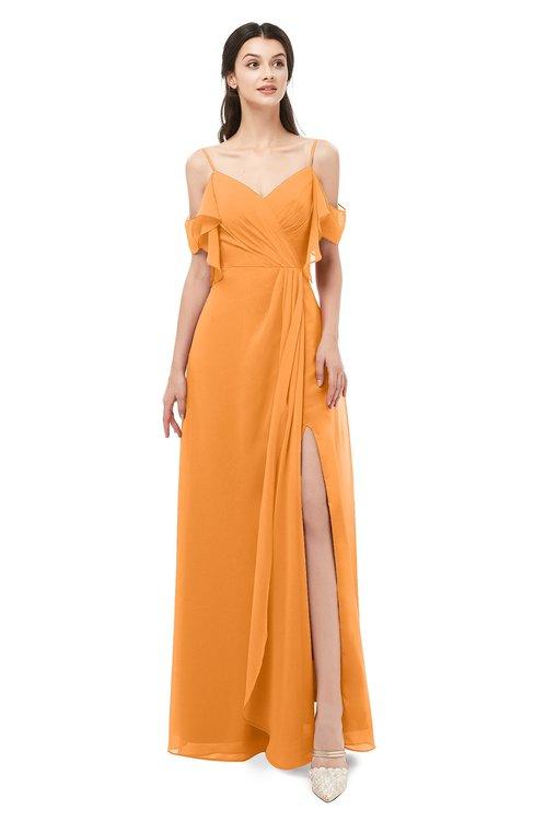 ColsBM Blair Orange Bridesmaid Dresses Spaghetti Zipper Simple A-line Ruching Short Sleeve