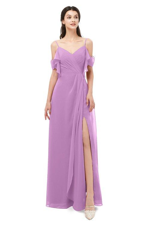 ColsBM Blair Orchid Bridesmaid Dresses Spaghetti Zipper Simple A-line Ruching Short Sleeve