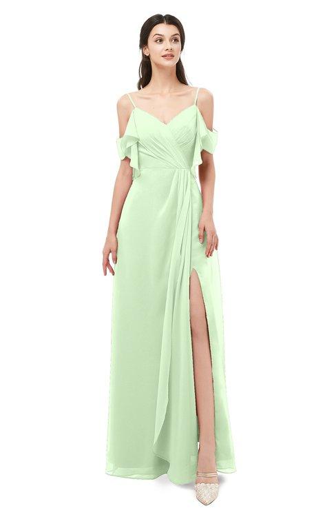ColsBM Blair Pale Green Bridesmaid Dresses Spaghetti Zipper Simple A-line Ruching Short Sleeve
