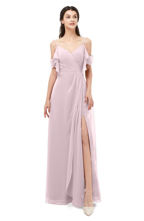 ColsBM Blair Pale Lilac Bridesmaid Dresses Spaghetti Zipper Simple A-line Ruching Short Sleeve