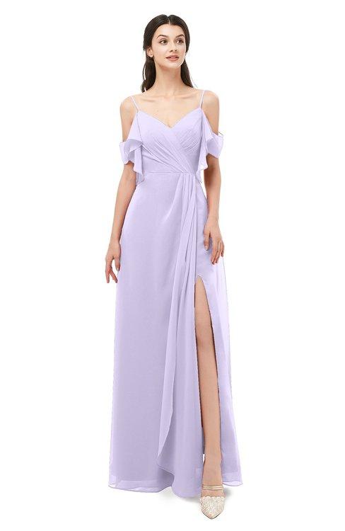 ColsBM Blair Pastel Lilac Bridesmaid Dresses Spaghetti Zipper Simple A-line Ruching Short Sleeve