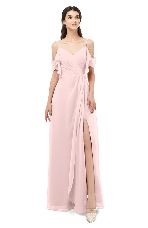 ColsBM Blair Pastel Pink Bridesmaid Dresses Spaghetti Zipper Simple A-line Ruching Short Sleeve