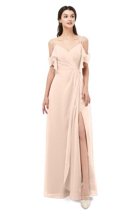 ColsBM Blair Peach Puree Bridesmaid Dresses Spaghetti Zipper Simple A-line Ruching Short Sleeve