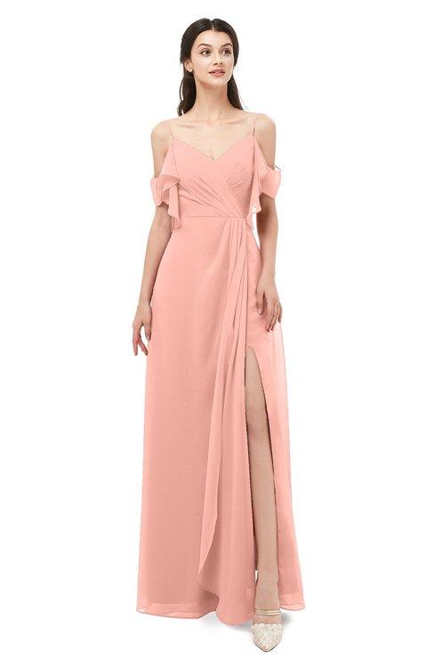 ColsBM Blair Peach Bridesmaid Dresses Spaghetti Zipper Simple A-line Ruching Short Sleeve