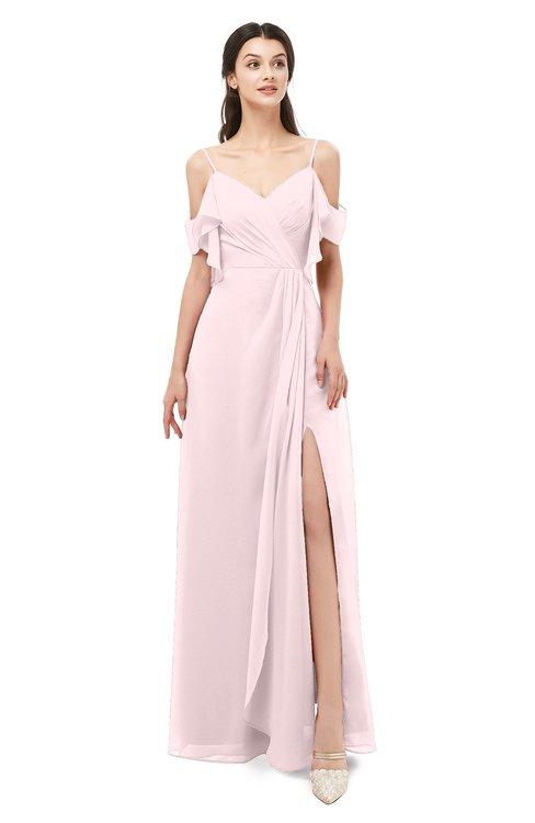 ColsBM Blair Petal Pink Bridesmaid Dresses Spaghetti Zipper Simple A-line Ruching Short Sleeve