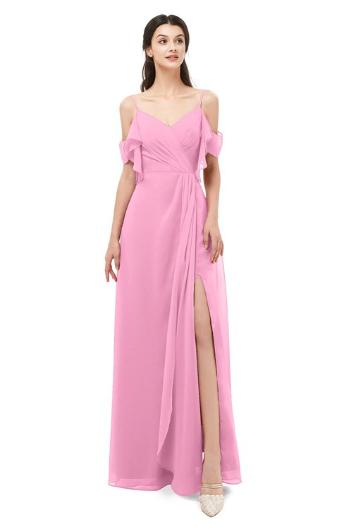 ColsBM Blair Pink Bridesmaid Dresses Spaghetti Zipper Simple A-line Ruching Short Sleeve